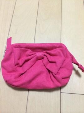 リボン付き がま口ポーチ 新品未使用 美品 ピンク