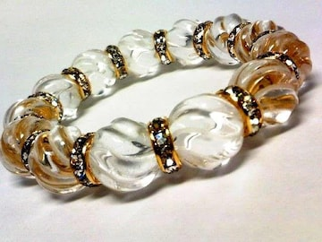 激渋§トルネード水晶14ミリ§金ロンデル数珠