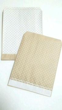 R70サイズ平袋★ピンドット白★A6が入る紙袋40枚