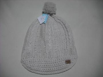 wb576 ROXY ロキシー ボンボン つば付き ニット帽 白