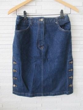美品/LB-03/サイドボタンストレッチデニムタイトスカート/濃紺