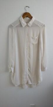 H&M シフォンロングシャツ