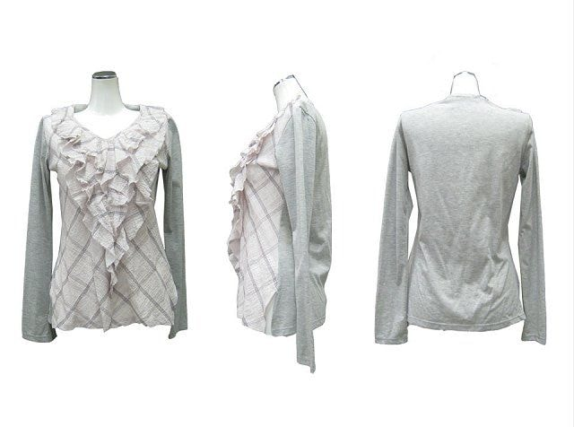 新品RIMSBY FIELDフリル異素材カットソーロンT長袖Tシャツ < 女性ファッションの