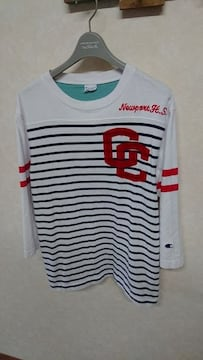 チャンピオン/Champion ボーダー刺繍7分Tシャツ M