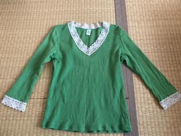 i・n・e レース付きカットソー 七分袖 黄緑 サイズ2