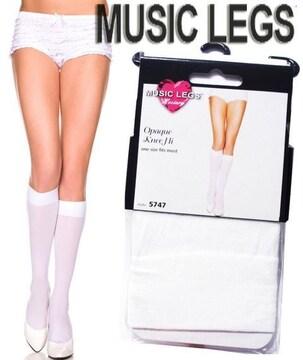 A879)LA発MUSICLEGSひざ丈タイツ白ホワイトストッキングダンスダンサーセレブ衣装B系