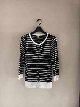 【美品】H&M◆Blackボーダー◆上質春夏メッシュニットカーデ