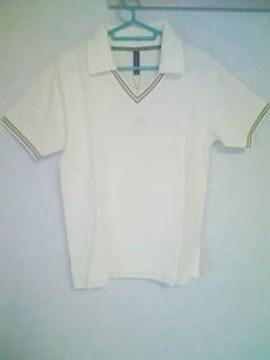 A-237★新品★半袖襟付きVネックシャツ ホワイト L