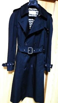 正規 SAINT LAURENT PARIS サンローランパリ ロングトレンチコート黒 最小34 コート