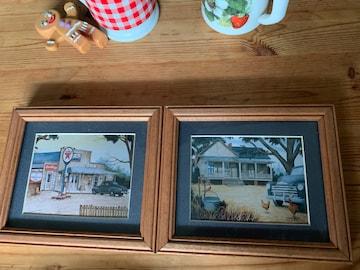 木製 アメリカ 風景 ミニ カントリー壁掛け絵2枚