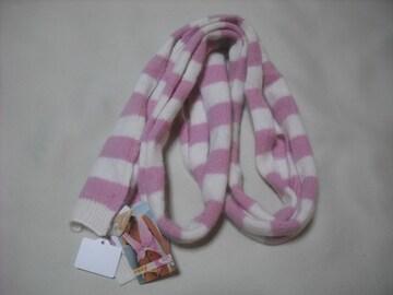 wb842 ROXY ロキシー ニットマフラー スカーフ ピンク白