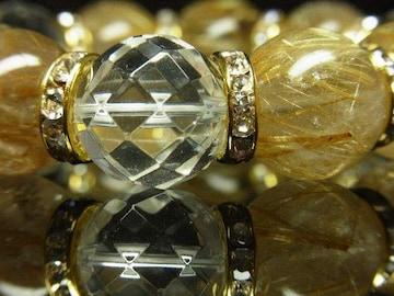 金運アップ 64面カット水晶×タイチンルチル数珠ブレスレット 16ミリ