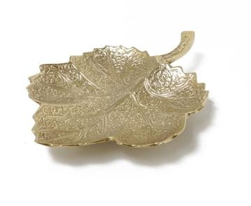 アラベスク模様 ブラスリーフトレイ アクセトレイ 小物 皿