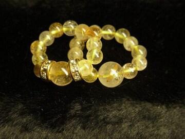 クリスマス特価!!ゴールドルチルパワーストーンリング!!天然石の指輪 2本価格
