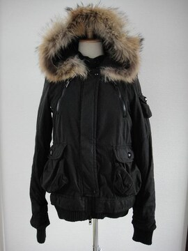 SLY/スライ★リアルファー フード付ジャケットアウター サイズ1 ブラック BK 試着のみ美品