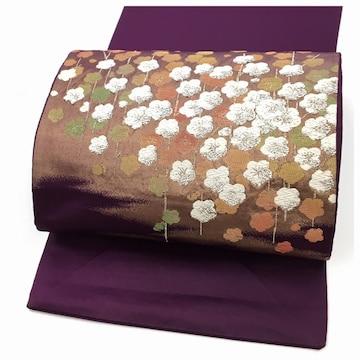 美品 化繊 名古屋帯 紫 お太鼓柄 上質 中古品