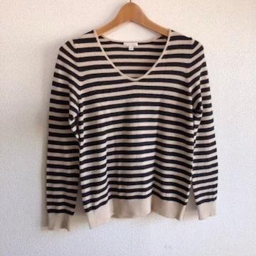 ◆Gap/ギャップ◆ボーダーニット★ベージュ×ブラックM♪ウールセーター