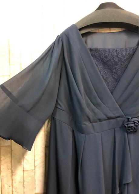 新品☆38号6L7L♪紺色パーティワンピース♪二次会や謝恩会☆s843 < 女性ファッションの