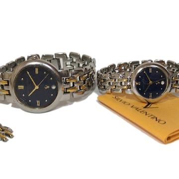 【2点ペアセット】1スタ★SILVIO VALENTINO コマ保証書付 腕時計