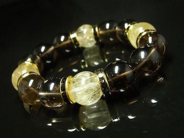 豪華14ミリ数珠 タイチンルチル×スモーキークォーツブレスレット 最強金運石