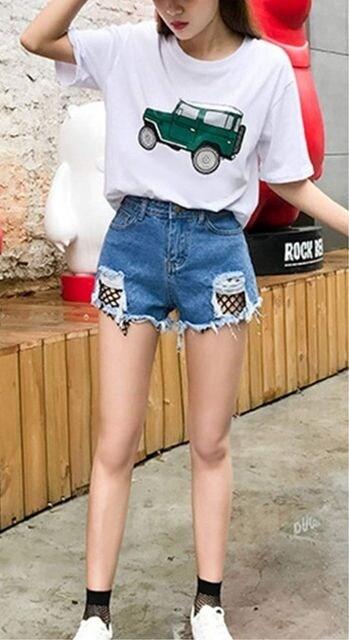 ヴィンテージ風 デニムショートパンツ(XL寸・青) < 女性ファッションの