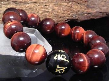 六字真言オニキス14ミリ§レッドタイガーアイ12ミリ数珠