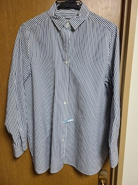 イネドINED昨季美品ブルーストライプ長袖シャツブラウス大きいサイズ13号スーツインナー