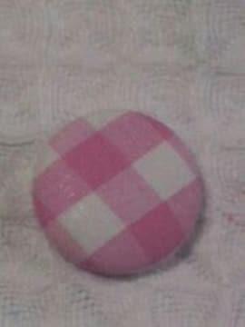 ハンドメイドくるみボタン22�o×6ピンクチェック