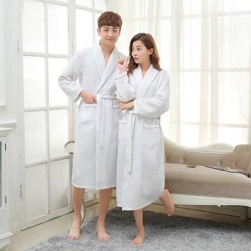 綿 100% バスローブ 男女兼用 S M L XL ホワイト