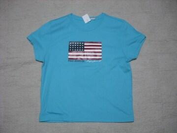 72 女 ラルフローレン 青 半袖Tシャツ L