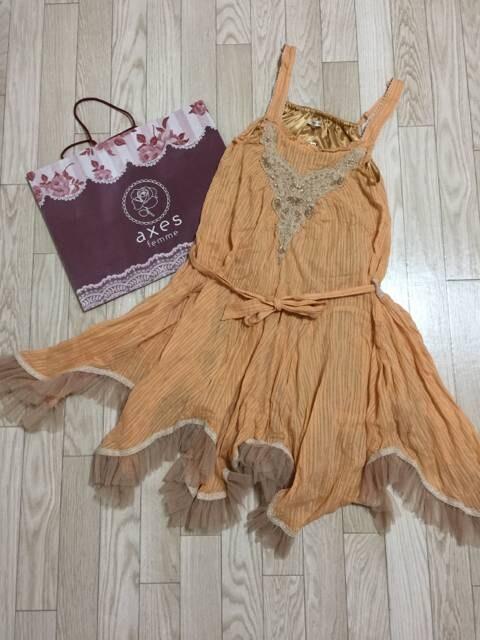 B397/axes femme/新品/オレンジ/裾イレギュラー/ワンピース/  < ブランドの