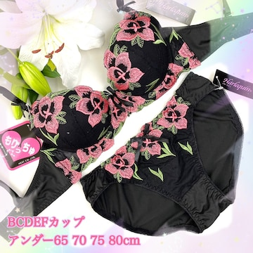 5点以上送料無料☆E80L 花刺繍ブラック ブラ&ショーツ