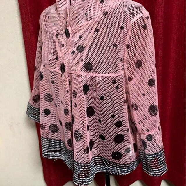 ピンク☆ドット☆透け★七分ジャケット☆M〜L < 女性ファッションの
