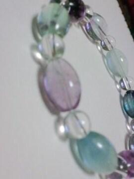 天然石ブレス3Aミックスフロ-ライト ライス形 送料込み