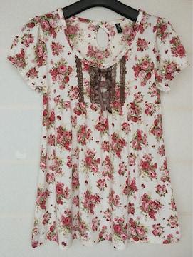 薔薇柄プリント 半袖 トップス カットソー M N2m リズリサ風