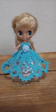 プチブライス水色のレース編みドレス