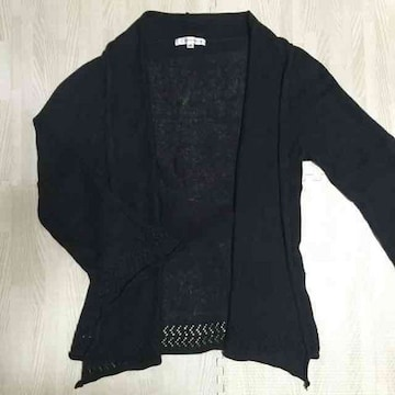【美品】裾カギ編み長袖ニットガウン/KLEIN PLUS+/黒/M/麻混