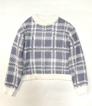 ロペピクニック水色ホワイト大チェック柄フェザーニットセーター(L)新品
