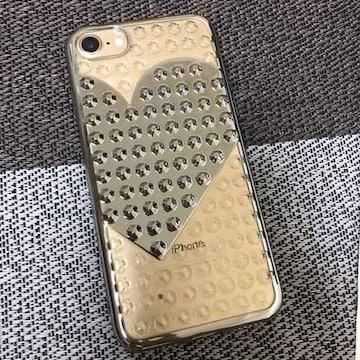 iPhone8ケース スタッズ レディース ハート ピンク ゴールド