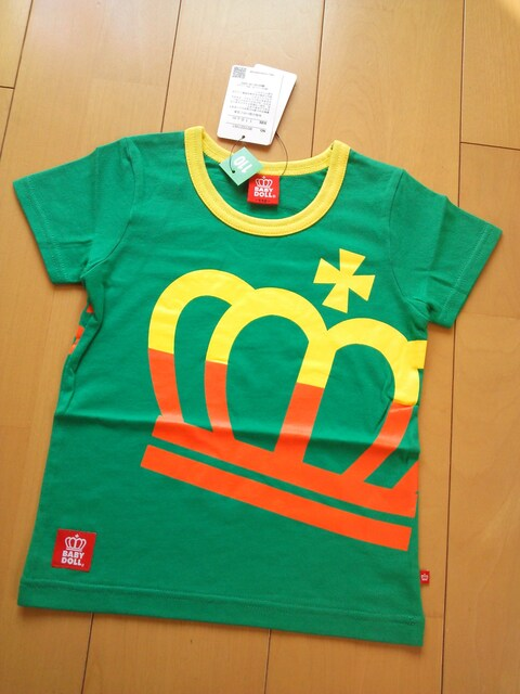 新品ビッグ斜め王冠Tシャツ110緑ベビドBABYDOLLベビードール  < ブランドの