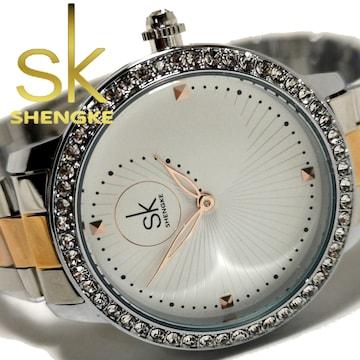 新品・未使用【専用箱付】SK【ジルコニア】美しい輝き放つ腕時計