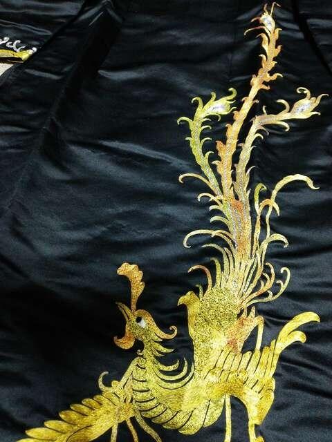 チャイナドレス★高級チャイナ服★金刺繍★鳳凰ブラック黒 < 女性ファッションの