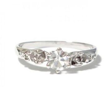 9号 クリスタル 薔薇 ローズ シルバーリング 指輪
