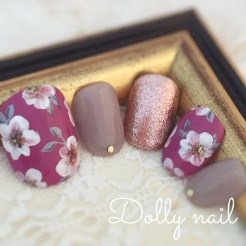 みぢょ!チビ爪ベリショ大人可愛いルージュピンク手描きフラワーお花グレージュ