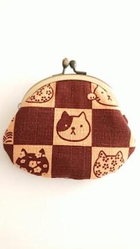 ハンドメイド*木綿のペタンコがま口財布*猫柄*茶