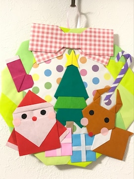 折り紙クリスマスリース/サンタとトナカイ/ハンドメイド