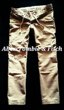 【Abercrombie&Fitch】Vintage Destroyed ストレートチノパンツ 36/Khaki