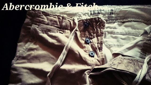 【Abercrombie&Fitch】Vintage Destroyed ストレートチノパンツ 36/Khaki < ブランドの