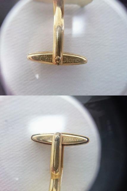 正規 廃盤 Dior ディオール 2カラーロゴ文字ヴィンテージカフス 金×黒 ディオールオム < ブランドの