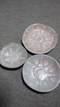 手作り陶器.平皿3枚セット太陽風エスニック絵皿ハンドメイド新品